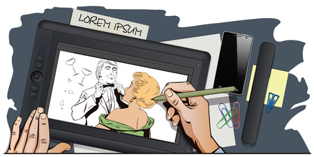 bowtie: Stock illustration. People in retro style pop art and vintage advertising. Proud guy adjusting his bow-tie. Girl terrified by this. Hand paints picture on tablet. Illustration