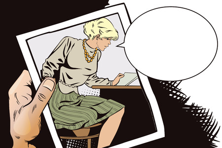 Stock illustration. People in retro style pop art and vintage advertising. Girl reads letter. Hand with photo.
