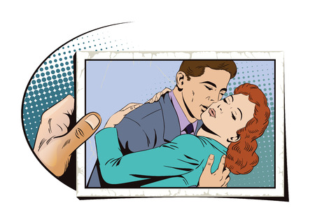 Stock illustration. People in retro style pop art and vintage advertising. Embraces of a loving couple. Hand with photo.