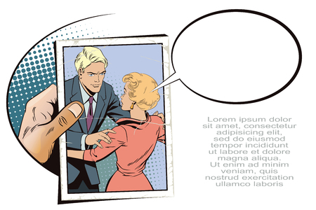 Stock illustration. People in retro style pop art and vintage advertising. Broken heart. Girl and boy talking. Hand with photo. Illustration