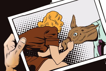 immovable: Stock illustration. People in retro style pop art and vintage advertising. Woman pulls a stubborn man donkey. Hand with photo. Illustration