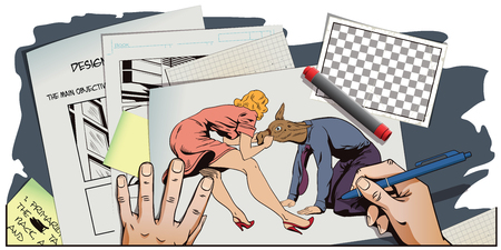 advertising woman: Stock illustration. People in retro style pop art and vintage advertising. Woman pulls a stubborn man donkey. Hand paints picture.