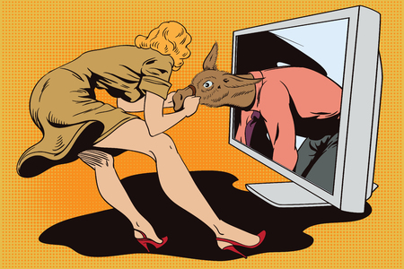 advertising woman: Stock illustration. People in retro style pop art and vintage advertising. Woman pulls a stubborn man donkey from computer.
