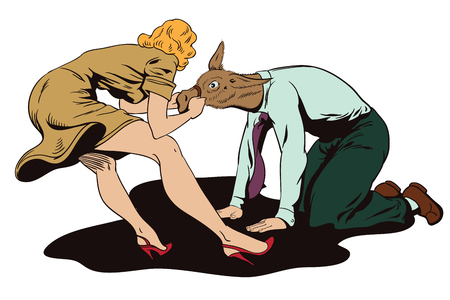 advertising woman: Stock illustration. People in retro style pop art and vintage advertising. Woman pulls a stubborn man donkey.