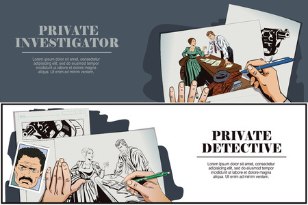 private detective: Stock illustration. People in retro style pop art and vintage advertising. Private detective and girl. Hand paints picture.