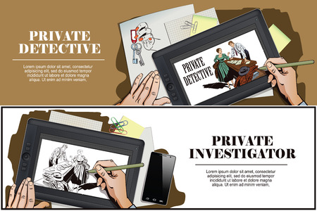 sleuth: Stock illustration. People in retro style pop art and vintage advertising. Private detective and girl. Hand paints picture on tablet.