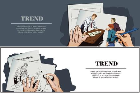 Stock illustration. Mensen in retro stijl pop art en vintage reclame. Zakenman. Werkgever en ondergeschikten. Hand schetst beeld. Vector Illustratie