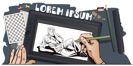 impotence: Stock illustration. People in retro style pop art and vintage advertising. Upset man lying. Big problems. Life is rolling downhill. Hand paints picture on tablet. Illustration