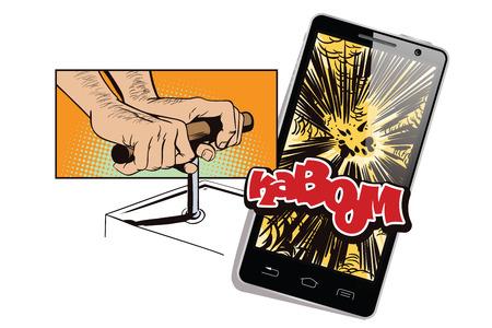 detonator: Stock illustration. People in retro style. Presentation template. Explodes smartphone. Man pushes detonator for tnt.