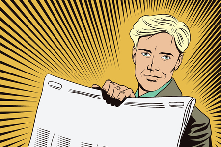 Stock illustration. People in retro style. Presentation template. Man shows a newspaper. Place under your headline.