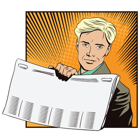 newspaper headline: Stock illustration. People in retro style. Presentation template. Man shows a newspaper. Place under your headline.