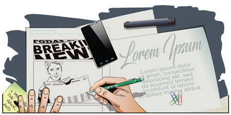 newspaper headline: Stock illustration. People in retro style. Presentation template. Man shows a newspaper. Place under your headline. Hand paints picture.