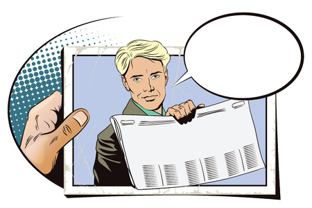 newspaper headline: Stock illustration. People in retro style. Presentation template. Man shows a newspaper. Place under your headline. Hand with photo. Illustration