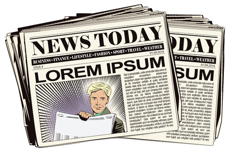 newspaper headline: Stock illustration. People in retro style. Presentation template. Man shows a newspaper. Place under your headline. Newspaper article. Illustration