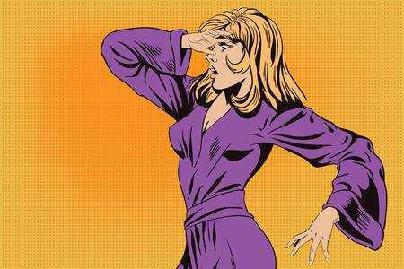 stunned: Stock illustration. People in retro style pop art and vintage advertising. Stunned girl. Illustration