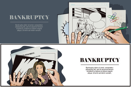 advertising woman: Stock illustration. People in retro style pop art and vintage advertising. Woman soothes upset man. Bankruptcy. Business failure. Hand paints picture.