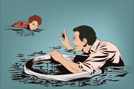 Stock illustration. People in retro style pop art and vintage advertising. Man on lifebuoy. Shipwreck. Business collapse.
