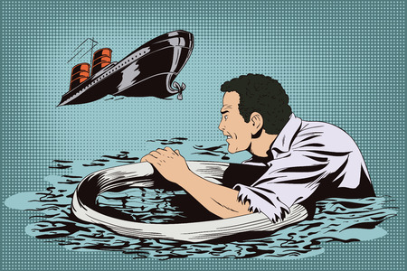collapse: Stock illustration. People in retro style pop art and vintage advertising. Man on lifebuoy. Shipwreck. Business collapse.