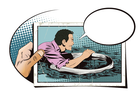 collapse: Stock illustration. People in retro style pop art and vintage advertising. Man on lifebuoy. Shipwreck. Business collapse. Hand with photo. Illustration