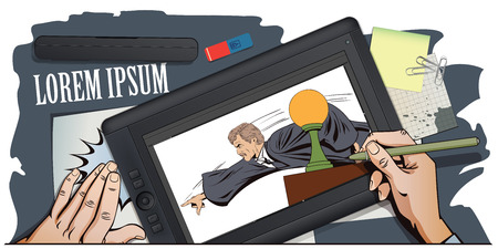 magistrate: Stock illustration. People in retro style. Presentation template. Angry judge shows a finger from the podium. Hand paints picture on tablet. Illustration