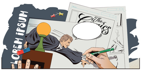 magistrate: Stock illustration. People in retro style. Presentation template. Angry judge shows a finger from the podium. Hand paints picture.