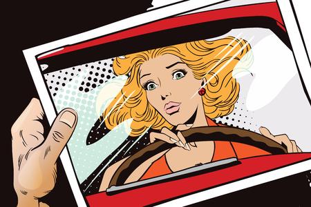 La ilustración. La gente en estilo retro pop art y la publicidad de la vendimia. asustada mujer conducir un coche. Mano con foto.