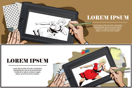 promoter: Stock illustration. People in retro style. Presentation template. Surprised young woman is pointing finger. Promo girl. Your advertising brand here. Hand paints picture on tablet.