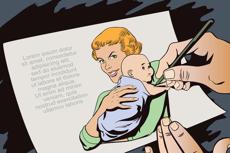 advertising woman: Stock illustration. People in retro style pop art and vintage advertising. Woman with a baby. Hand paints picture.