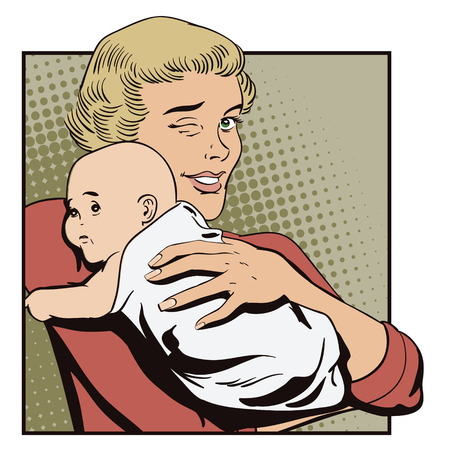 advertising woman: Stock illustration. People in retro style pop art and vintage advertising. Woman with a baby.