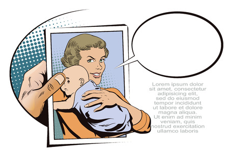 advertising woman: Stock illustration. People in retro style pop art and vintage advertising. Woman with a baby. Hand with photo. Illustration