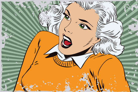 stunned: Stock illustration. People in retro style. Presentation template. Stunned girl.