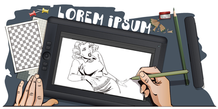 stunned: Stock illustration. People in retro style. Presentation template. Stunned girl. Hand paints picture on tablet. Illustration