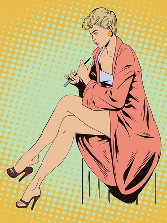 Stock illustration. People in retro style pop art and vintage advertising. Girl does manicure. Illustration