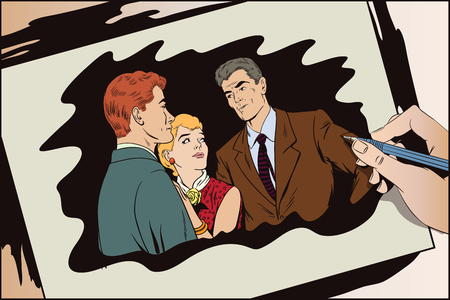 Stock illustration. People in retro style pop art and vintage advertising. Quarrel. Rough talk. Two Guys arguing over a Girl. Hand paints picture.
