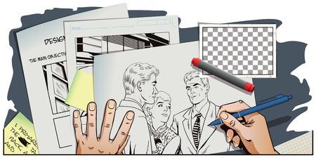 ストック イラスト。レトロなスタイルのポップアートとビンテージ広告の人々。けんか。話をラフします。二人の女の子論争。手の写真を描画しま  イラスト・ベクター素材