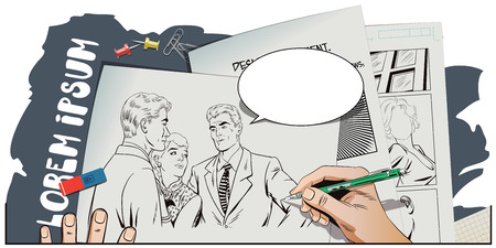 jealousy: Stock illustration. People in retro style pop art and vintage advertising. Quarrel. Rough talk. Two Guys arguing over a Girl. Hand paints picture.