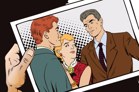 Stock illustration. People in retro style pop art and vintage advertising. Quarrel. Rough talk. Two Guys arguing over a Girl. Hand with photo.