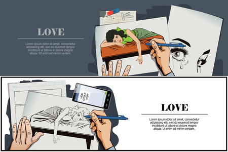 lies: Stock illustration. People in retro style pop art and vintage advertising. Broken heart. Girl lies on bed and crying. Hand paints picture.