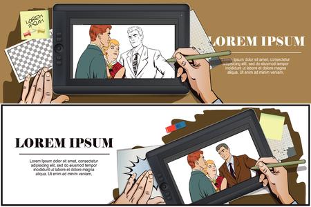 ストック イラスト。レトロなスタイルのポップアートとビンテージ広告の人々。けんか。話をラフします。二人の女の子論争。手は、タブレット上