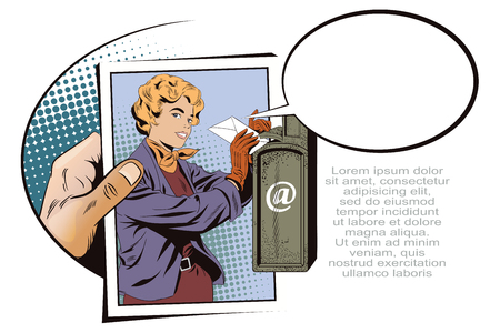 Stock illustration. People in retro style pop art and vintage advertising. Girl puts letter into mailbox. Hand with photo.