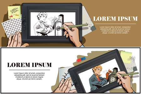 correspond: Stock illustration. People in retro style pop art and vintage advertising. Girl puts letter into mailbox. Hand paints picture on tablet.