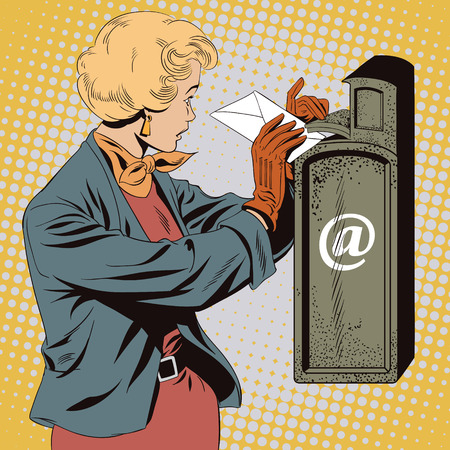 sender: Stock illustration. People in retro style pop art and vintage advertising. Girl puts letter into mailbox.