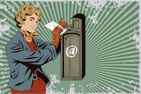 Stock illustration. People in retro style pop art and vintage advertising. Girl puts letter into mailbox.