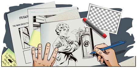 Stock illustration. People in retro style pop art and vintage advertising. Girl puts letter into mailbox. Hand paints picture. Illustration
