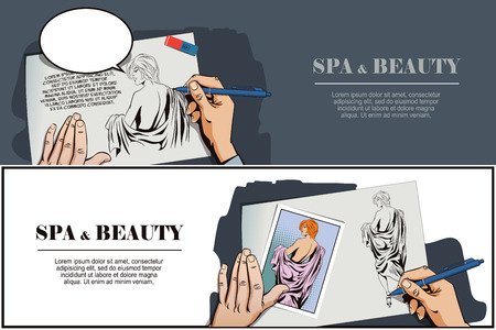 beauty spa: Stock illustration. People in retro style pop art and vintage advertising. Spa Beauty. Girl is preparing for spa. Hand paints picture. Illustration