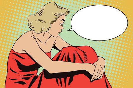 재고 일러스트 레이 션. 복고풍 스타일의 사람들. 프레 젠 테이 션 템플릿입니다. 아름 다운 슬픈 여자의 초상화입니다.