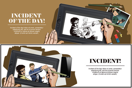 misunderstanding: Stock illustration. People in retro style pop art and vintage advertising. Fight of two men. Hand paints picture on tablet.