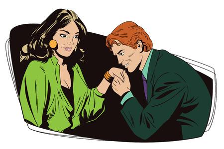 Ilustración común. Gente en estilo retro. Plantilla de presentación. El hombre besa una mano a la chica.
