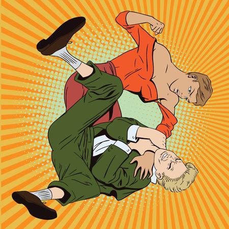 Stock illustration. People in retro style. Presentation template. Woman beats man.