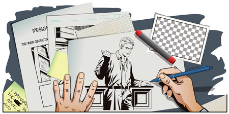 promoter: Stock illustration. People in retro style. Presentation template. Successful businessman is pointing finger. Promo man. Your advertising brand here. Hand paints picture. Illustration